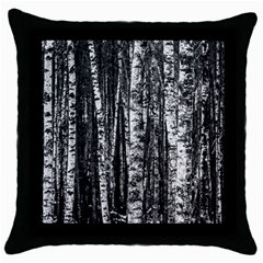 Birch Forest Trees Wood Natural Throw Pillow Case (black)