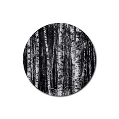 Birch Forest Trees Wood Natural Rubber Round Coaster (4 Pack)