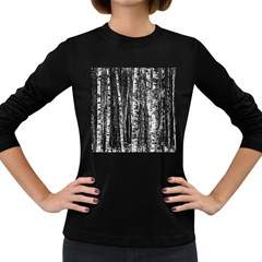 Birch Forest Trees Wood Natural Women s Long Sleeve Dark T Shirts