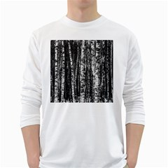 Birch Forest Trees Wood Natural White Long Sleeve T Shirts