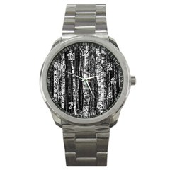 Birch Forest Trees Wood Natural Sport Metal Watch