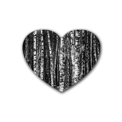 Birch Forest Trees Wood Natural Rubber Coaster (Heart)