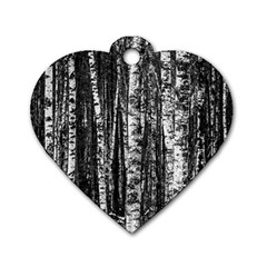 Birch Forest Trees Wood Natural Dog Tag Heart (Two Sides)