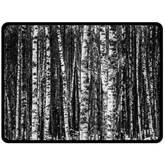 Birch Forest Trees Wood Natural Fleece Blanket (Large)