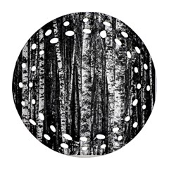 Birch Forest Trees Wood Natural Ornament (round Filigree)