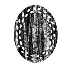 Birch Forest Trees Wood Natural Oval Filigree Ornament (two Sides)