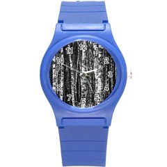 Birch Forest Trees Wood Natural Round Plastic Sport Watch (S)