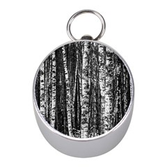 Birch Forest Trees Wood Natural Mini Silver Compasses