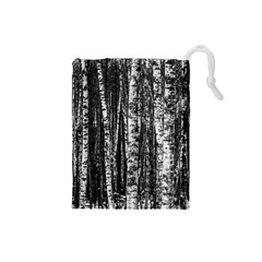 Birch Forest Trees Wood Natural Drawstring Pouches (small)