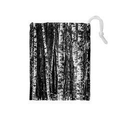 Birch Forest Trees Wood Natural Drawstring Pouches (Medium)