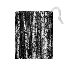 Birch Forest Trees Wood Natural Drawstring Pouches (large)
