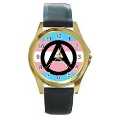Anarchist Pride Round Gold Metal Watch