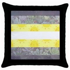 Nonbinary flag Throw Pillow Case (Black)