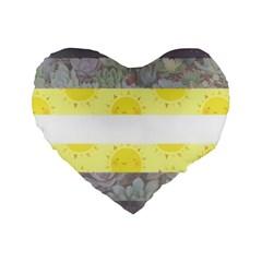 Cute Flag Standard 16  Premium Flano Heart Shape Cushions