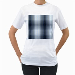 Silent Night Blue Large Gingham Check Women s T-Shirt (White) (Two Sided)