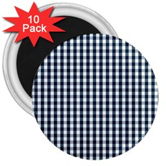 Silent Night Blue Large Gingham Check 3  Magnets (10 pack)