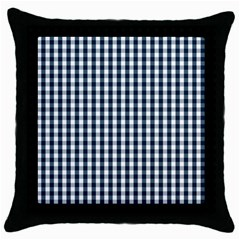 Silent Night Blue Large Gingham Check Throw Pillow Case (Black)