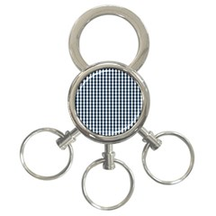 Silent Night Blue Large Gingham Check 3-Ring Key Chains