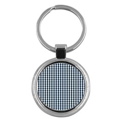 Silent Night Blue Large Gingham Check Key Chains (Round)