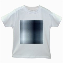 Silent Night Blue Large Gingham Check Kids White T-Shirts