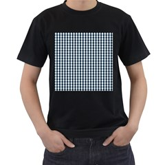 Silent Night Blue Large Gingham Check Men s T-Shirt (Black) (Two Sided)