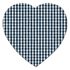 Silent Night Blue Large Gingham Check Jigsaw Puzzle (Heart)
