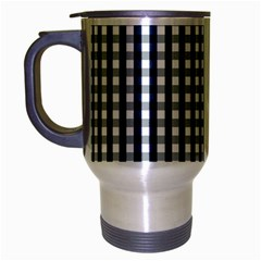 Silent Night Blue Large Gingham Check Travel Mug (Silver Gray)