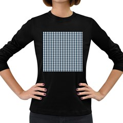 Silent Night Blue Large Gingham Check Women s Long Sleeve Dark T-Shirts