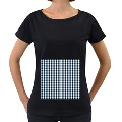Silent Night Blue Large Gingham Check Women s Loose-Fit T-Shirt (Black)