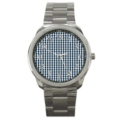 Silent Night Blue Large Gingham Check Sport Metal Watch