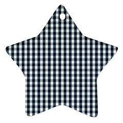 Silent Night Blue Large Gingham Check Star Ornament (Two Sides)