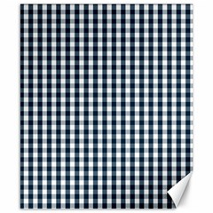Silent Night Blue Large Gingham Check Canvas 8  x 10