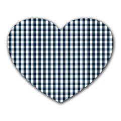 Silent Night Blue Large Gingham Check Heart Mousepads