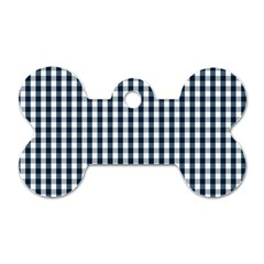 Silent Night Blue Large Gingham Check Dog Tag Bone (Two Sides)