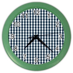 Silent Night Blue Large Gingham Check Color Wall Clocks