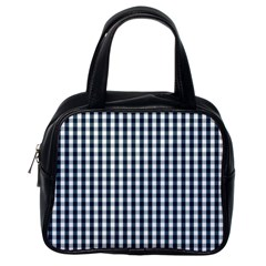Silent Night Blue Large Gingham Check Classic Handbags (One Side)