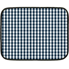 Silent Night Blue Large Gingham Check Double Sided Fleece Blanket (Mini)