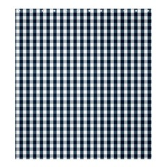 Silent Night Blue Large Gingham Check Shower Curtain 66  x 72  (Large)