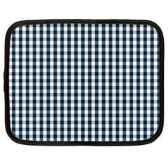 Silent Night Blue Large Gingham Check Netbook Case (XXL)