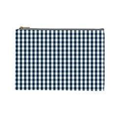 Silent Night Blue Large Gingham Check Cosmetic Bag (Large)