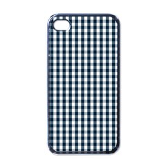 Silent Night Blue Large Gingham Check Apple iPhone 4 Case (Black)