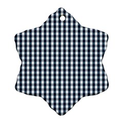 Silent Night Blue Large Gingham Check Ornament (Snowflake)