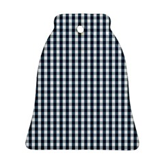 Silent Night Blue Large Gingham Check Ornament (Bell)