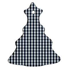 Silent Night Blue Large Gingham Check Christmas Tree Ornament (Two Sides)