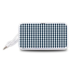 Silent Night Blue Large Gingham Check Portable Speaker (White)