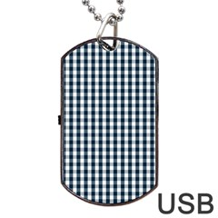 Silent Night Blue Large Gingham Check Dog Tag USB Flash (One Side)