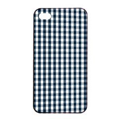 Silent Night Blue Large Gingham Check Apple iPhone 4/4s Seamless Case (Black)