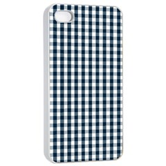 Silent Night Blue Large Gingham Check Apple iPhone 4/4s Seamless Case (White)