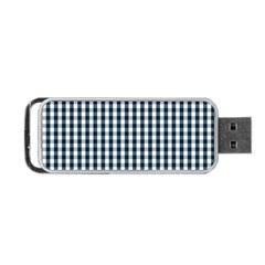 Silent Night Blue Large Gingham Check Portable USB Flash (One Side)