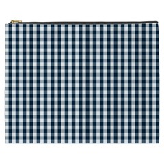 Silent Night Blue Large Gingham Check Cosmetic Bag (XXXL)